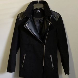 DIVIDED Black Felt/Vinyl Moto Style Jacket